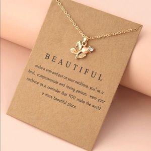 New Rhinestone Flower Charm Necklace